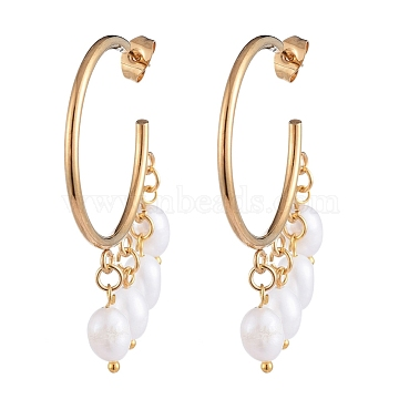 Dangle Chandelier Earrings, with Natural Cultured Freshwater Pearl Beads, 304 Stainless Steel Stud Earring Findings and Brass Findings, Golden, White, 47x37x6mm, Pin: 0.6mm(EJEW-JE04105-01)