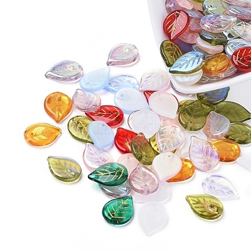 Czech Glass Beads, Electroplated/Gold Inlay Color, Leaf, Mixed Color, 18.5x13.5x3.5mm, Hole: 1mm(X-GLAA-G070-16)