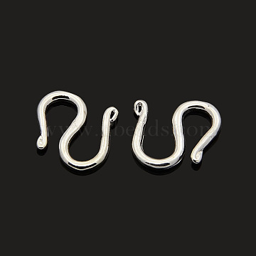Brass S-Hook Clasps, Silver Color Plated, 11x11x1.5mm(KK-J185-12S)