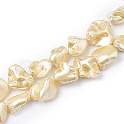 """Chapelets de perles en coquille, pépite, jaune, 13~27x12~23x6~21mm, trou: 1mm; environ 18~24 pcs/chapelet, 14.96""""~16.14""""(BSHE-Q033-01I)"""