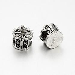 Perles européennes en alliage plaqué argent antique avec strass, grosses perles de la couronne de trous, hématite, 13x12mm, Trou: 5mm(CPDL-J030-29AS)