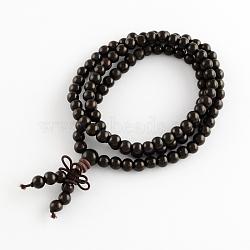 Товаров двойного назначения, обертывание стиль буддийский гуру ювелирных черное дерево круглый бисера браслет или ожерелье, чёрные, 600 мм; 108 шт / браслет(BJEW-R281-04)
