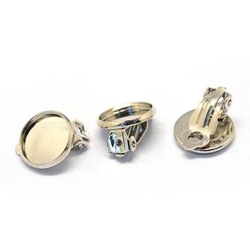 Iron Clip-on Earrings, Flat Round, Platinum, Tray: 12mm; 20.5x14x5mm(X-MAK-Q007-12)