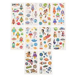 Cartoon Body Art Tattoos, Temporary Tattoos Paper Stickers, Space Series, Mixed Color, 12x6.8x0.025cm; Stickers: 4~50x4~32mm; 10sheets/set(MRMJ-F013-02)