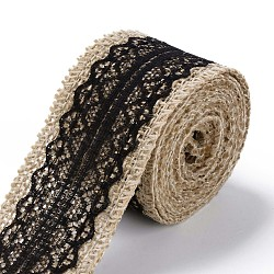 Burlap Ribbon, Hessian Ribbon, Jute Ribbon, with Lace, for Jewelry Making, Black, 1-1/2 inch(38mm); about 2m/roll, 24rolls/bag(OCOR-S126-01)