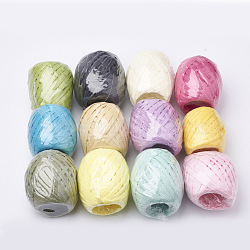 Colorful Raffia Ribbon, Raffia Paper Rope Cord for DIY Projects, Oval, Mixed Color, 3.8~6.2mm, about 21.87 yards(20m)/roll; 12rolls/bag(DIY-Q005-03)