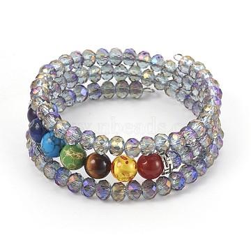 Electroplate Glass Wrap Bracelets, with Mixed Gemstone, 3-Loop, Round, Medium Slate Blue, 53mm(BJEW-JB04020-03)