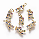Brass Micro Pave Cubic Zirconia Charms(ZIRC-L070-38R-G)-1