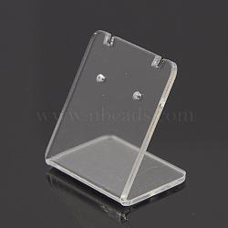 Organic Glass Earring Displays, Rectangle, Clear, 35x34x27mm(X-EDIS-N001-03A)