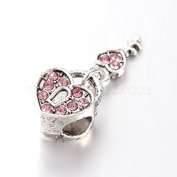 Heart Lock & Key Large Hole Alloy Rhinestone European Beads, Antique Silver, Light Rose, 26mm, Hole: 4.5mm(X-CPDL-E029-27AS)