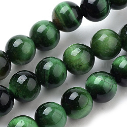 Natural Tiger Eye Beads Strands, Dyed, Round, Green, 6mm, Hole: 1mm; about 70pcs/strand, 15.7inches