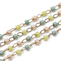 TOHO® perles de rocaille import au japon, Chaînes de perles en verre manuels, soudé, avec bobine, Accessoires en laiton, colonne, non plaqué, colorées, 2 mm; environ 8 m/rouleau(CHC-S005-01E)
