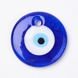 Pendentifs mauvais oeil vernisés manuels, plat rond, bleu, 35x6mm, Trou: 4mm(X-LAMP-E106-02D)