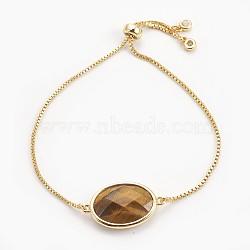 """Bracelets bolo réglables en laiton, Bracelets coulissants, avec maille naturelle en oeil de tigre et zircone, ovale, or, 9-3/8"""" (23.9 cm), 1mm(BJEW-JB03898-02)"""