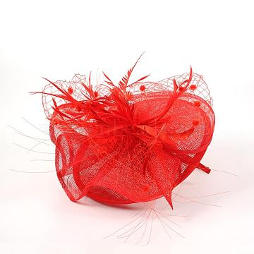 Elegant Red Fascinators UK for Weddings, Flower Organza with Feather, 120mm(OHAR-S170-01)