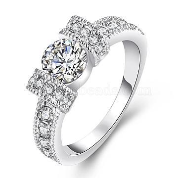 Graceful Brass Czech Rhinestone Engagement Rings for Bridal, Platinum, Size 6, 16.5mm(RJEW-BB02199-6B)