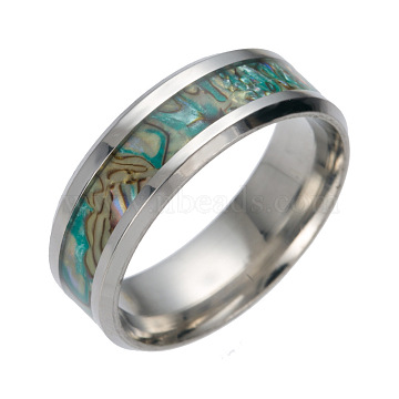 201 Stainless Steel Wide Band Finger Rings, with Shell, Size 9, Stainless Steel Color, 19mm(X-RJEW-T005-9-06)