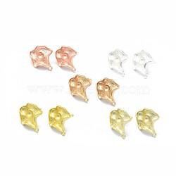 Accessoires de clou d'oreille en alliage, suports à cabochon, avec boucle, goupilles en laiton et écrous d'oreille / dos de boucle d'oreille, Plaqué longue durée, feuille, couleur mixte, 19.5x16.5mm, trou: 1.5 mm; plateau: 4 mm; broche: 0.7 mm(PALLOY-F255-43)