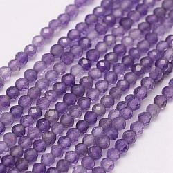Natural Amethyst Beads Strands, Round, Grade A, Faceted, 3mm, Hole: 0.5mm; about 144~151pcs/strand, 15.3inches(39cm)