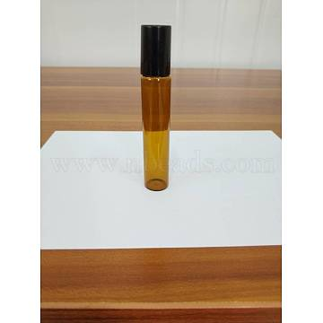 Glass Essential Oil Empty Perfume Bottle, with Roller Ball and Plastic Caps, Sienna, 1.6x9.15cm, 10ml/bottle.(CON-WH0013-01A-10ml)