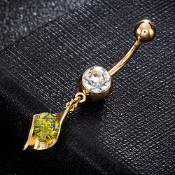 Brass Cubic Zirconia Navel Ring, Belly Rings, with Use Stainless Steel Findings, Cadmium Free & Lead Free, Real 18K Gold Plated, Olive, 42x8mm, Pin: 1.5mm(AJEW-EE0004-28B)