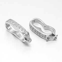 925 sterling micro argent ouvrent zircons replier fermoirs, platine, 19x9x3mm(STER-F011-014)