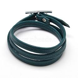 Cuir PU bracelets trois boucles d'emballage, avec des agrafes en alliage, platine, darkslategray, 620x8x2mm(X-BJEW-F067-05)