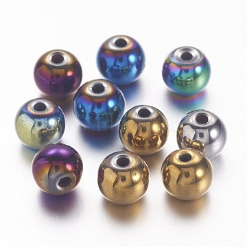 Non-magnetic Synthetic Hematite Beads, Color Plated, Grade A, Round, Mixed Color, 8mm, Hole: 1mm(X-G-S096-8mm-M)