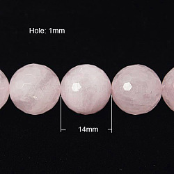 Natural Rose Quartz Beads Strands, Faceted,  Round, Pink, 14mm, Hole: 1mm; about 14pcs/strand, 7.8inches