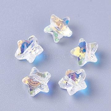 Imitation Austrian Crystal Beads, K9 Glass, Star, Faceted, Clear AB, 8x8x5mm, Hole: 1.2mm(X-SWAR-O001-06)