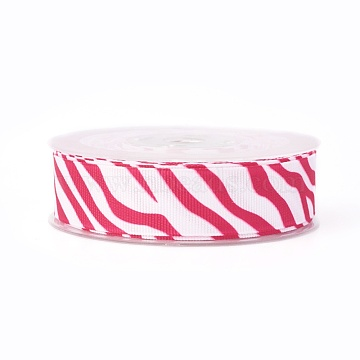 Polyester Grosgrain Ribbon, Zebra-stripe Pattern, Hot Pink, 7/8 inch(22mm); about 50yards/roll(45.72m/roll)(SRIB-L052-22mm-C002)