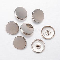 Boutons en alliage, 1-trou, plat rond, platine, 15x7mm, Trou: 2mm(BUTT-D054-15mm-05P)