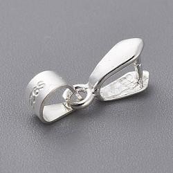 925 en argent sterling bails pendentif, ice pick & bails pincée, argent, 3.5x4 mm de diamètre intérieur; 10x5.5x3 mm; trou: 3.5x5 mm; goupille: 0.8 mm(X-STER-E050-10S)