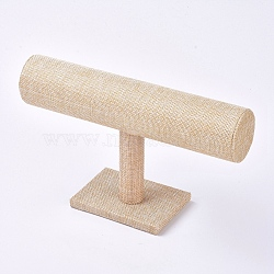 Linen T-Bar Bracelet Display Stands, Linen, 13.7x24x7.1mm(X-BDIS-WH0003-04B)