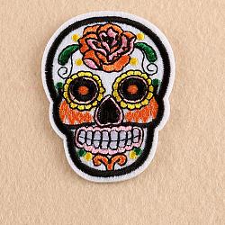 fer à repasser informatisé sur pièces, accessoires de costumes, appliques, crâne de sucre, pour le jour férié des morts au mexique, blanc, 72.2x53x1.9 mm(DIY-WH0139-A10)