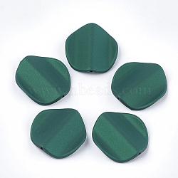 perles acryliques de style caoutchoutées, vague, pétale, vert, 35.5x33x8 mm, trou: 1.8 mm(MACR-T026-22D)