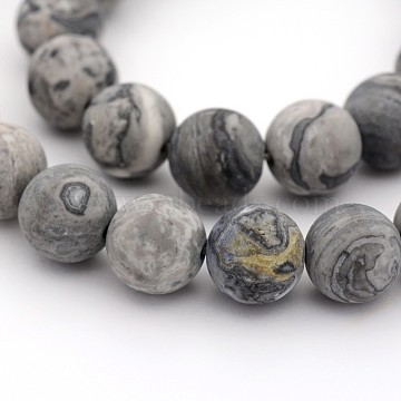 Frosted Natural Map Stone/Picasso Stone/Picasso Jasper Round Bead Strands, 8mm, Hole: 1mm; about 24pcs/strand, 7.5 inches(X-G-M272-08-8mm)