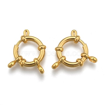 304 Stainless Steel Spring Ring Clasps, Long-Lasting Plated, Real 24K Gold Plated, 23x14x4mm, Hole: 2.5mm(X-STAS-H558-29G)