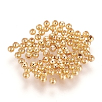 Brass Spacer Beads, Round, Nickel Free, Real 18K Gold Plated, 2mm, Hole: 0.8mm