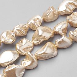 "Chapelets de perles de coquille, nuggets, peachpuff, 15~20x10~15x8~12mm, trou: 0.8mm; environ 25 pcs/chapelet, 15.7""(PEAR-Q008-12C)"