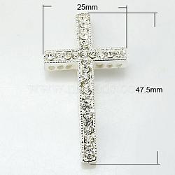 Perles de strass en alliage, sans plomb, avec une teneur de strass grade A, de couleur métal argent, croix, cristal, 47.5x25x4mm, Trou: 2mm(X-RB-G009-01S-LF)