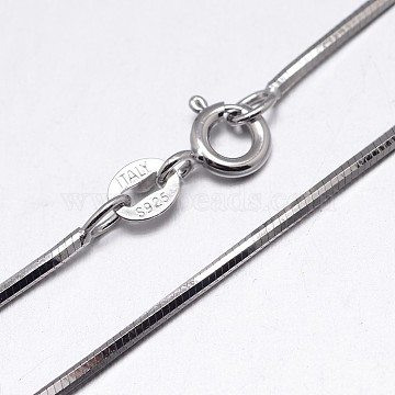 925 Sterling Silver Snake Chain Necklaces, with Spring Ring Clasps, Platinum, 16 inches, 0.75mm(NJEW-M153-15B-16)