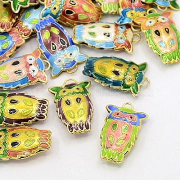 Cloisonne Pendant, Mixed Color, Owl, For Halloween Jewelry Making, 27mm long, 17mm wide, 6mm thick, hole: 3mm(X-CLB004Y-M)