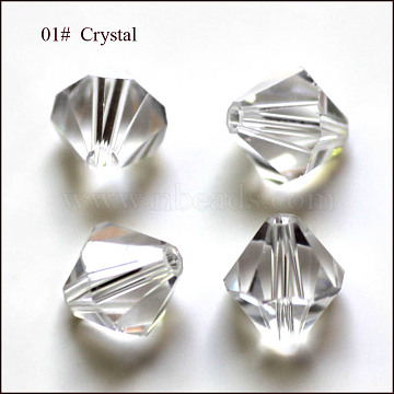 Imitation Austrian Crystal Beads, Grade AAA, Faceted, Bicone, Clear, 10x9~10mm, Hole: 0.9~1mm(SWAR-F022-10x10mm-001)