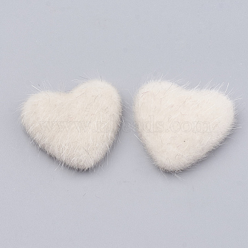 Faux Mink Fur Covered Cabochons, with Aluminum Bottom, Heart, Platinum, Floral White, 25x26x6~7mm(X-WOVE-N006-13O)