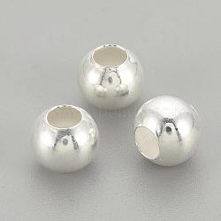 Perles 925 en argent sterling, rond, argenterie, 2.5x2mm, Trou: 1mm(STER-S002-12-2.5mm)