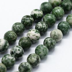 """Chapelets de perles en jaspe à pois verts naturels, rond, 12mm, trou: 1.2mm; environ 32 pcs/chapelet, 14.76"""" (37.5 cm)(G-I199-30-12mm)"""