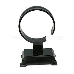 Écrans bracelet en plastique, présentoir de montre / bracelet simple de type c, noir, 94x60x40mm(BDIS-B001-1)
