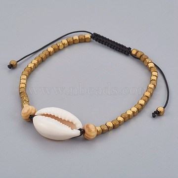 Adjustable Nylon Cord Braided Bead Bracelets, with Cowrie Shell Beads and Wood Beads, Electroplate Non-magnetic Hematite Beads, Gold, 2-1/8 inches(5.4cm)~3-3/8 inches(8.4cm)(BJEW-JB04092)