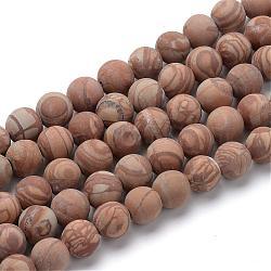 """Naturelle jaspe d'image chapelets de perles rondes, style mat, 8~8.5mm, trou: 1mm; environ 47 pcs/chapelet, 15.5""""(G-T055-8mm-06)"""